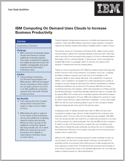 ibm on demand business View case example ibm od paper from bmba 9111 at seton hall ibm on demand business strategy prepared for: professor rupert a hayles overview: originally founded as.